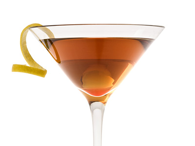 The Perfect Manhattan Cocktail Mixed Drink Of Rye Whiskey With Sweet And Dry Vermouth